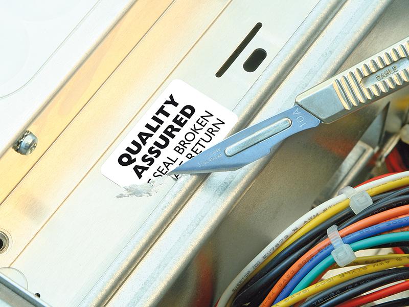 Etichette distruttibili di sicurezza antimanomissione